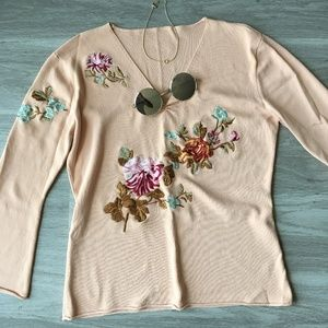 Tops - Peach Embroidered Floral Blouse